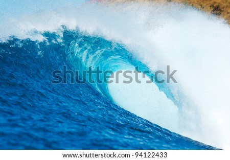 Blue Ocean Wave, View from in the Water a Surfers Perspective - stock photo