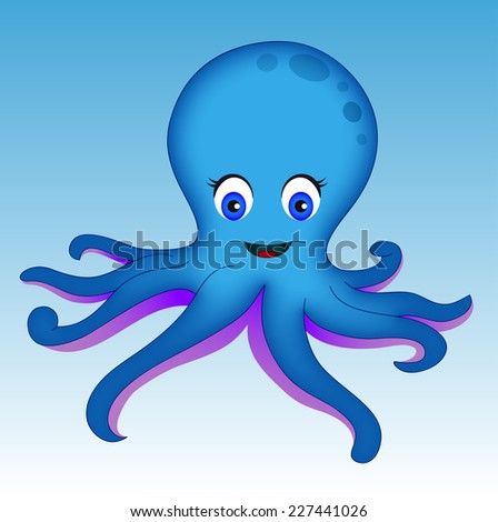 Blue octopus on blue background