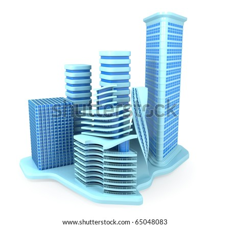 Blue Office Buildings - stock photo
