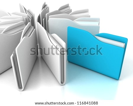 blue office folder with documents out from white group