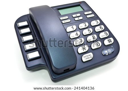 Blue office telephone without cord - stock photo