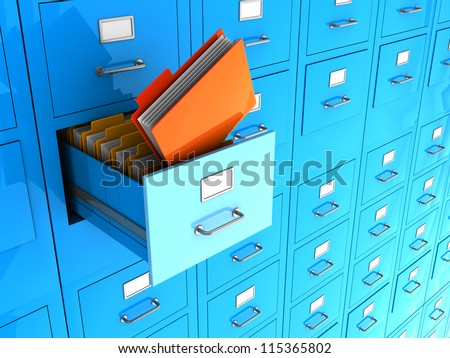 Blue office wall of files with important information in front - stock photo