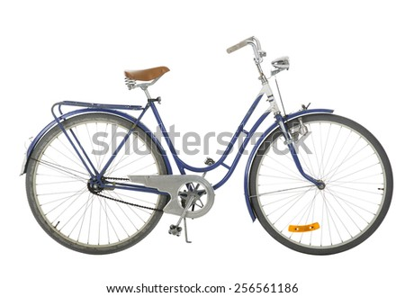 Blue Old fashioned bicycle isolated on white background - stock photo