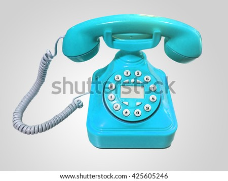 blue old-fashioned phone on isolated white background