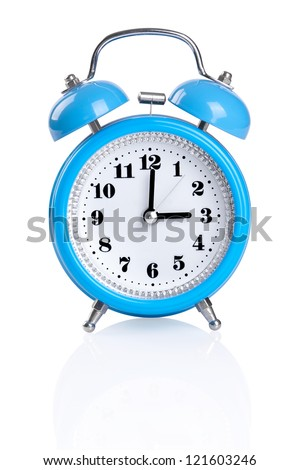 blue old style alarm clock isolated on white. File contains a path to cut. - stock photo