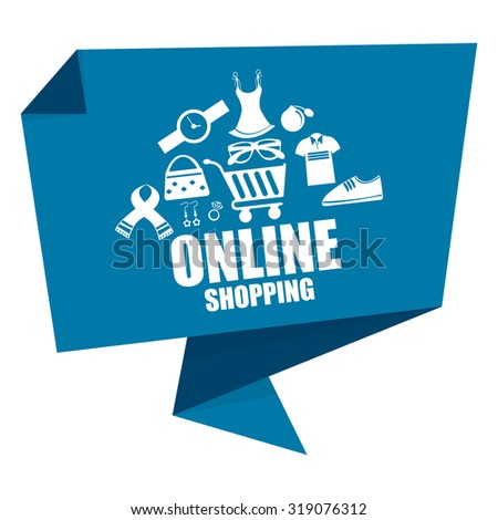 Blue Online Shopping Paper Origami Speech Bubble or Speech Balloon Infographics Sticker, Label, Sign or Icon Isolated on White Background - stock photo