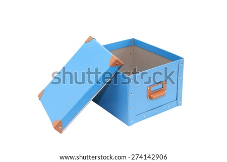 Blue open cardboard box and lid isolated on white with clipping path - stock photo