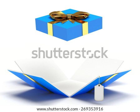 Blue open gift box with blank label isolated on a white background - stock photo
