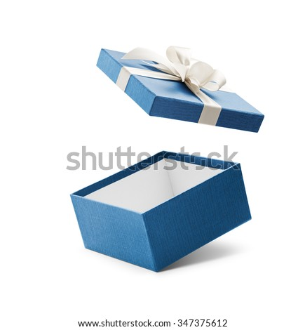 Blue open gift box with white bow isolated on white - stock photo