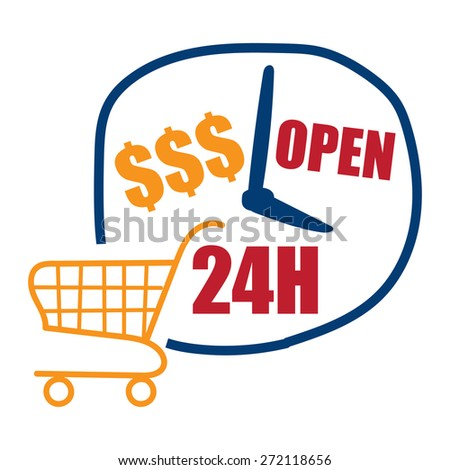 Blue Open 24H Label, Sign or Icon for E-Commerce Business Concept Isolated on White Background - stock photo