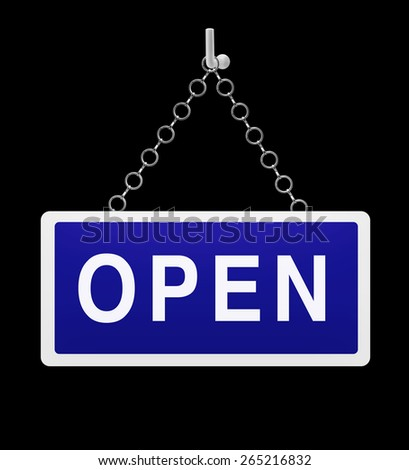 Blue open sign on black background - stock photo