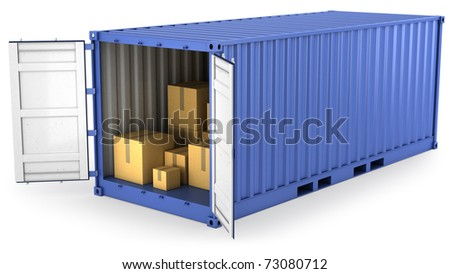 Blue opened container with carton boxes inside, isolated on white background - stock photo
