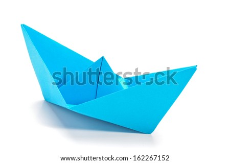 Blue origami ship - stock photo