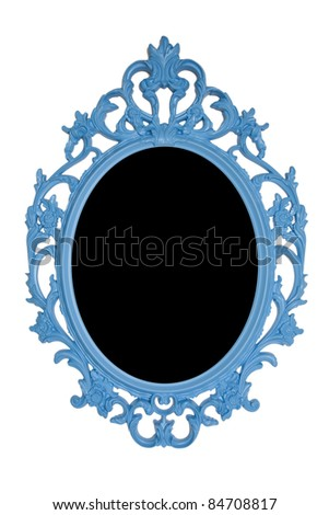 blue ornate vintage photo frame - stock photo