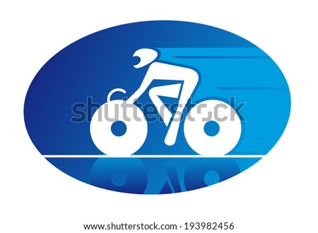 Blue oval icon of a racing cyclist on a bicycle travelling logo at speed and wearing a safety helmet. Vector version also available in gallery - stock photo