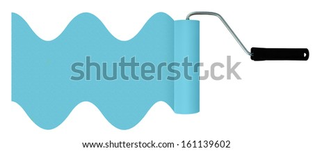 Blue paint roller  isolated for background, header etc - stock photo