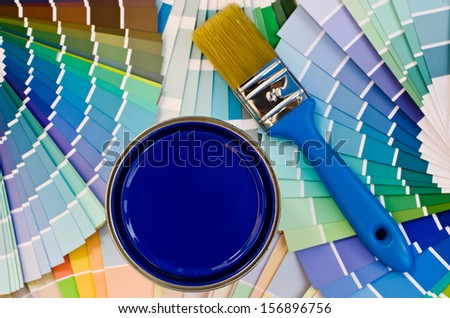 Shades Of Blue Paint blue paint can samples different shades stock photo 463282829