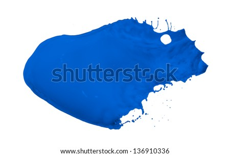 blue paint splash isolated on white background - stock photo