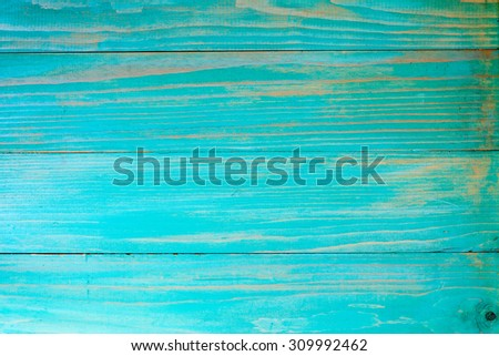 Blue painted old wooden wall as background - stock photo