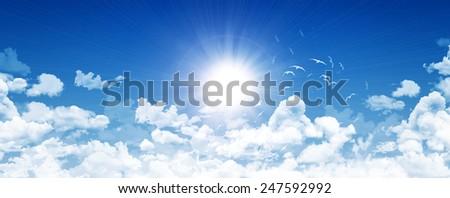 Blue panoramic sky - stock photo