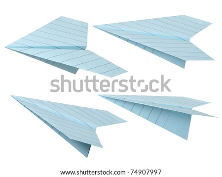 Blue paper airplane.