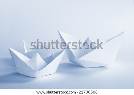 Blue Paper boat - stock photo