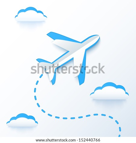 Blue paper flying plane in cloud, raster illustration - stock photo