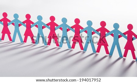 Blue paper men and red women united - stock photo