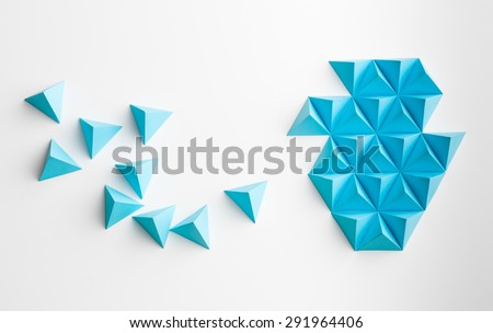 blue paper pyramids merging towards a shape, on white background - stock photo