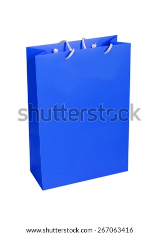 Blue paper shopping bag isolated on white - stock photo