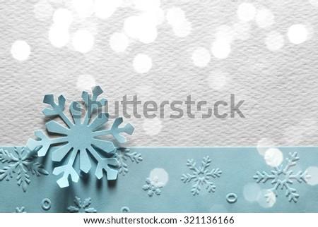 Blue paper textured snowflake,Christmas decoration - stock photo