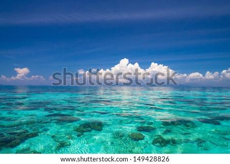 Blue Paradise Desert Island  - stock photo