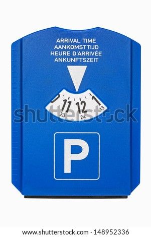 Blue parking disc with arrival time isolated on white - stock photo