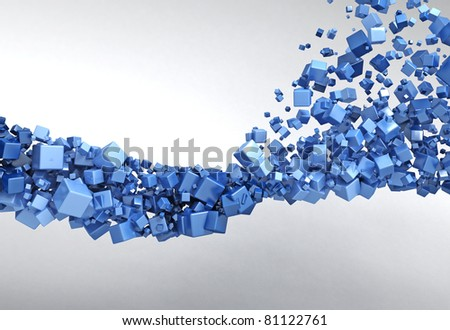 Blue Particles Background - stock photo