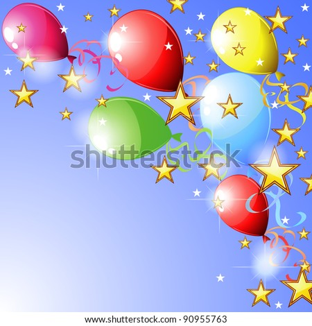 Blue party card with colorful balloons and stars