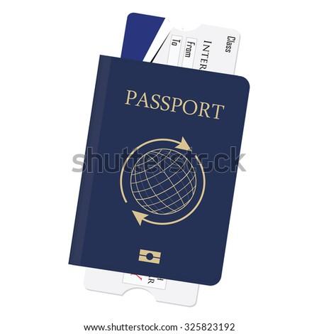 Blue passport and boarding pass raster illustration. Airplane ticket. Identification document - stock photo