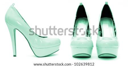 Blue Patent Platform High Heels - stock photo
