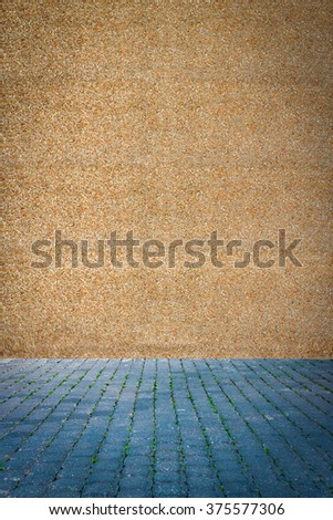 Blue Pavement with green grass against a wall made of concrete and colored stones - stock photo