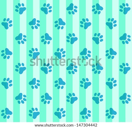 Blue Paws & Stripes Pattern - stock photo