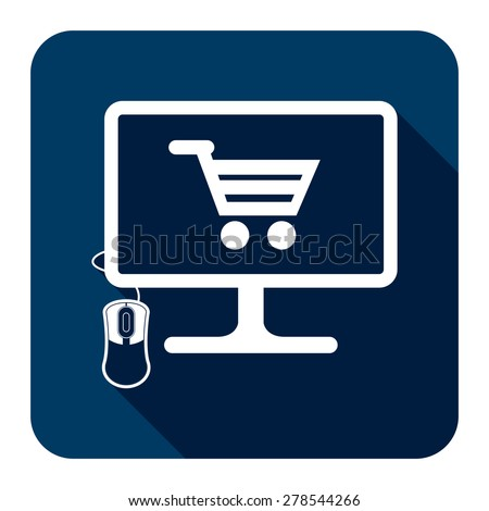 Blue PC Computer With Shopping Cart on Screen Monitor Flat Long Shadow Style Icon, Label, Sticker, Sign or Banner Isolated on White Background - stock photo