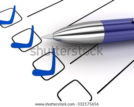Blue pen and three check (done in 3d) - stock photo