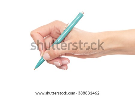 Blue pen in hand. Isolated on white background. - stock photo