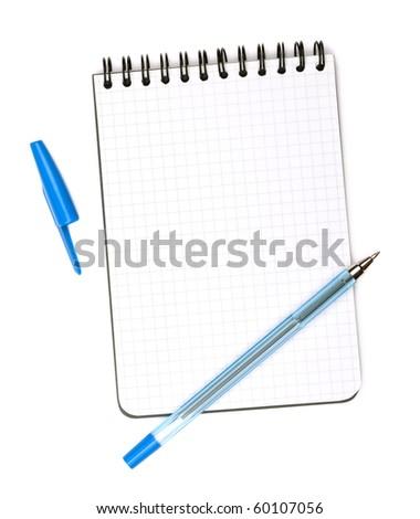 Blue pen on notepad. Isolated on white background - stock photo