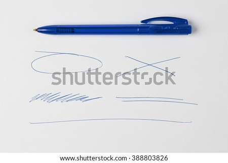 Blue Pen or Marker and scribbles and lines and Doodles Isolated on White Background with Real Shadow and Text Space. Top View - stock photo
