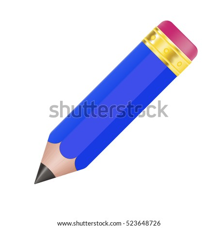 Blue pencil. 3d illustration isolated on white background. Raster version.