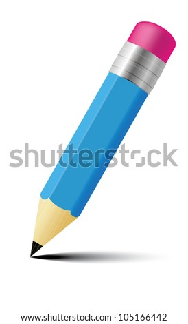 Blue Pencil with eraser - stock photo
