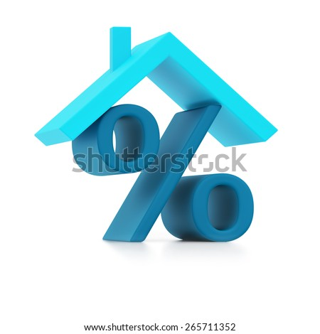 Blue percent sign under roof isolated on white background - stock photo