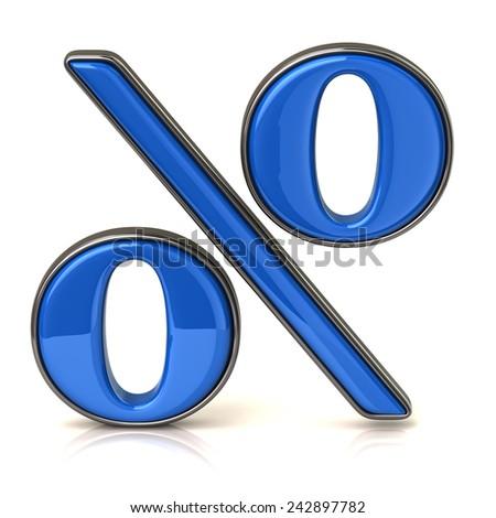 Blue percentage icon - stock photo