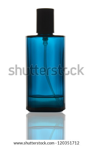 Blue perfume bottle with reflection on white background