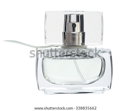 Blue perfume liquid. Feminine beauty concept / studio photography of perfume bottle - isolated on white background